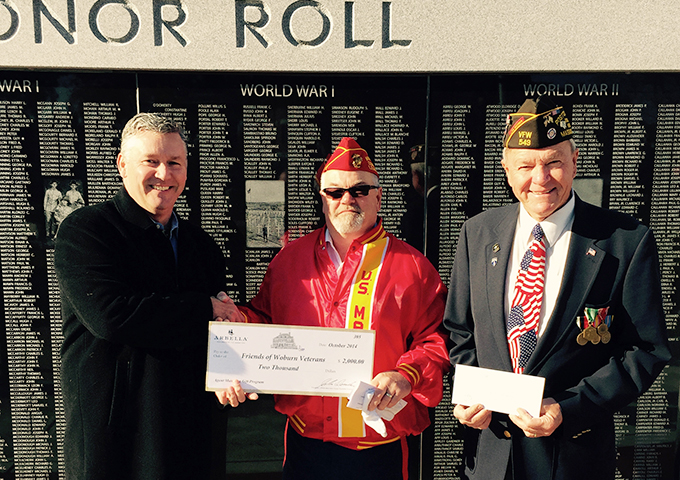 Peter J. Lennon presents check to Friends of Woburn Veterans