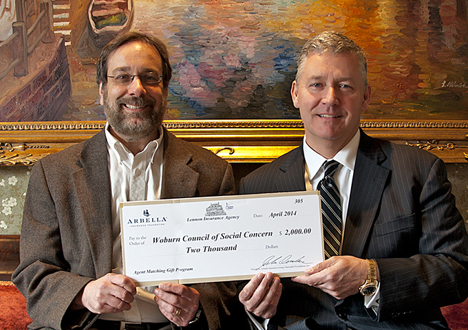 Peter J. Lennon presents check to Woburn Council of Social Concern